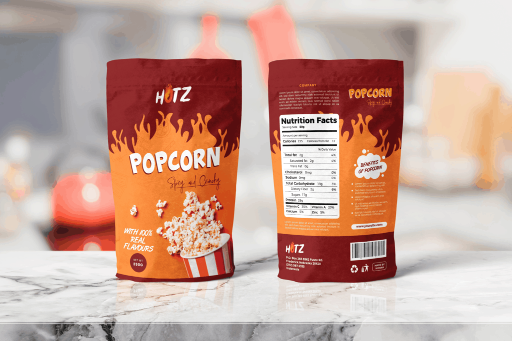 Packaging Template – Popcorn Spicy Snack