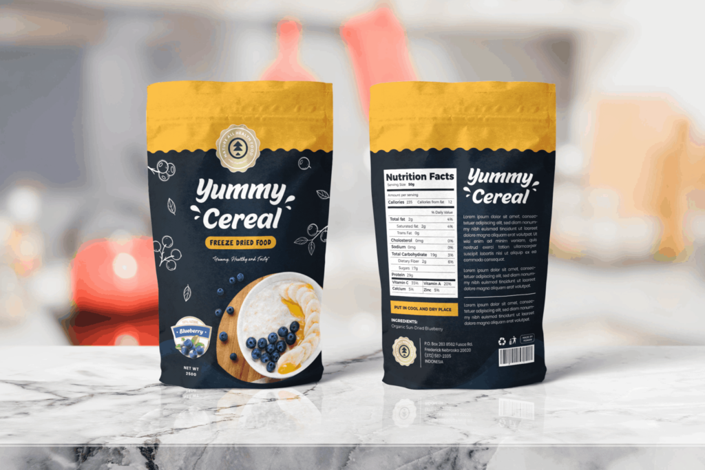 Packaging Template – Blueberry Cereal