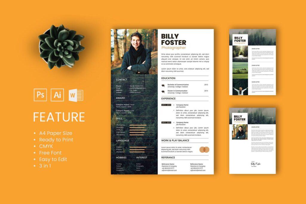 CV Resume – Photographer Profile 3