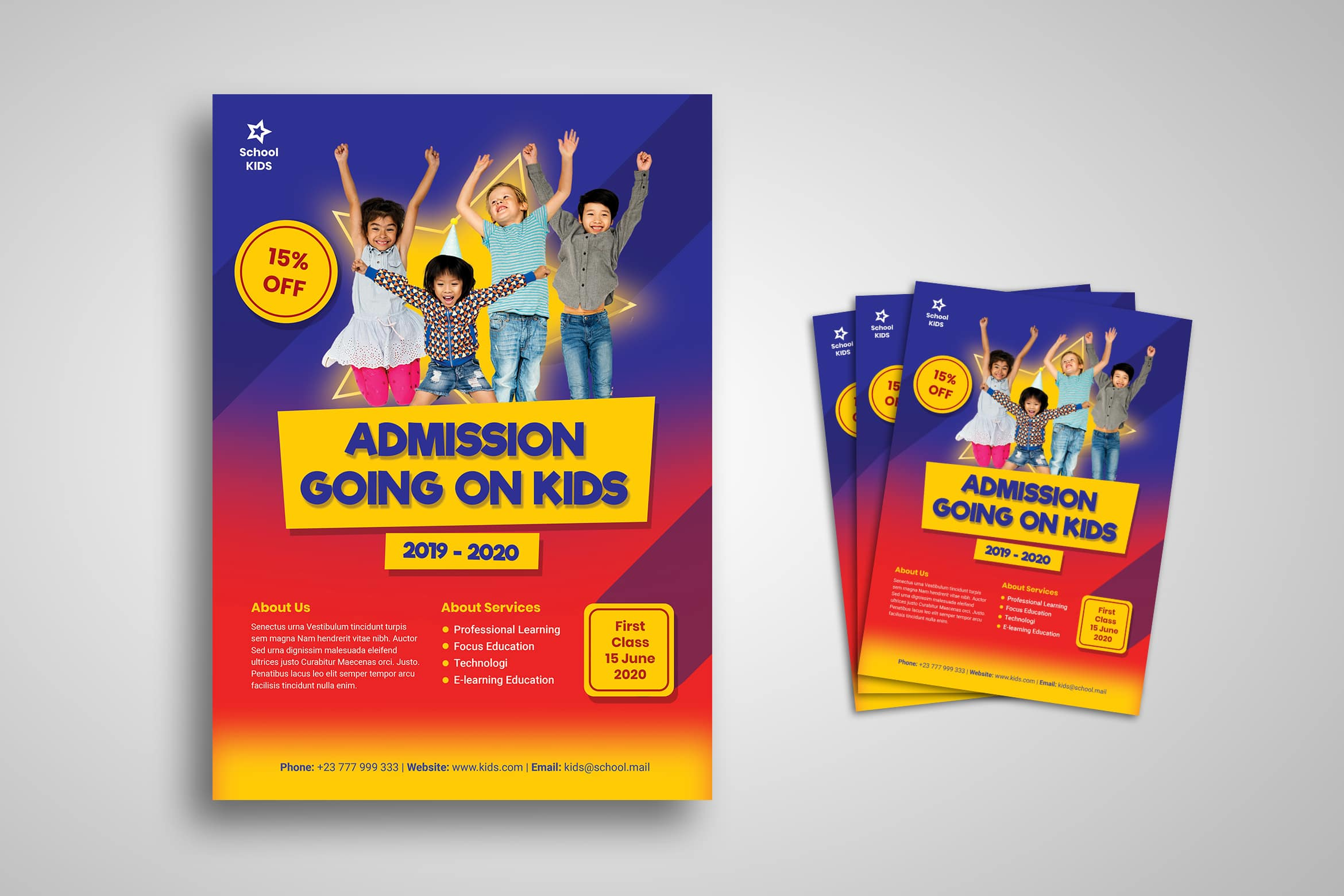 Flyer Template - Kids Fun School Admission
