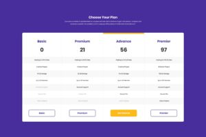 Pricing Table - Hosting Package