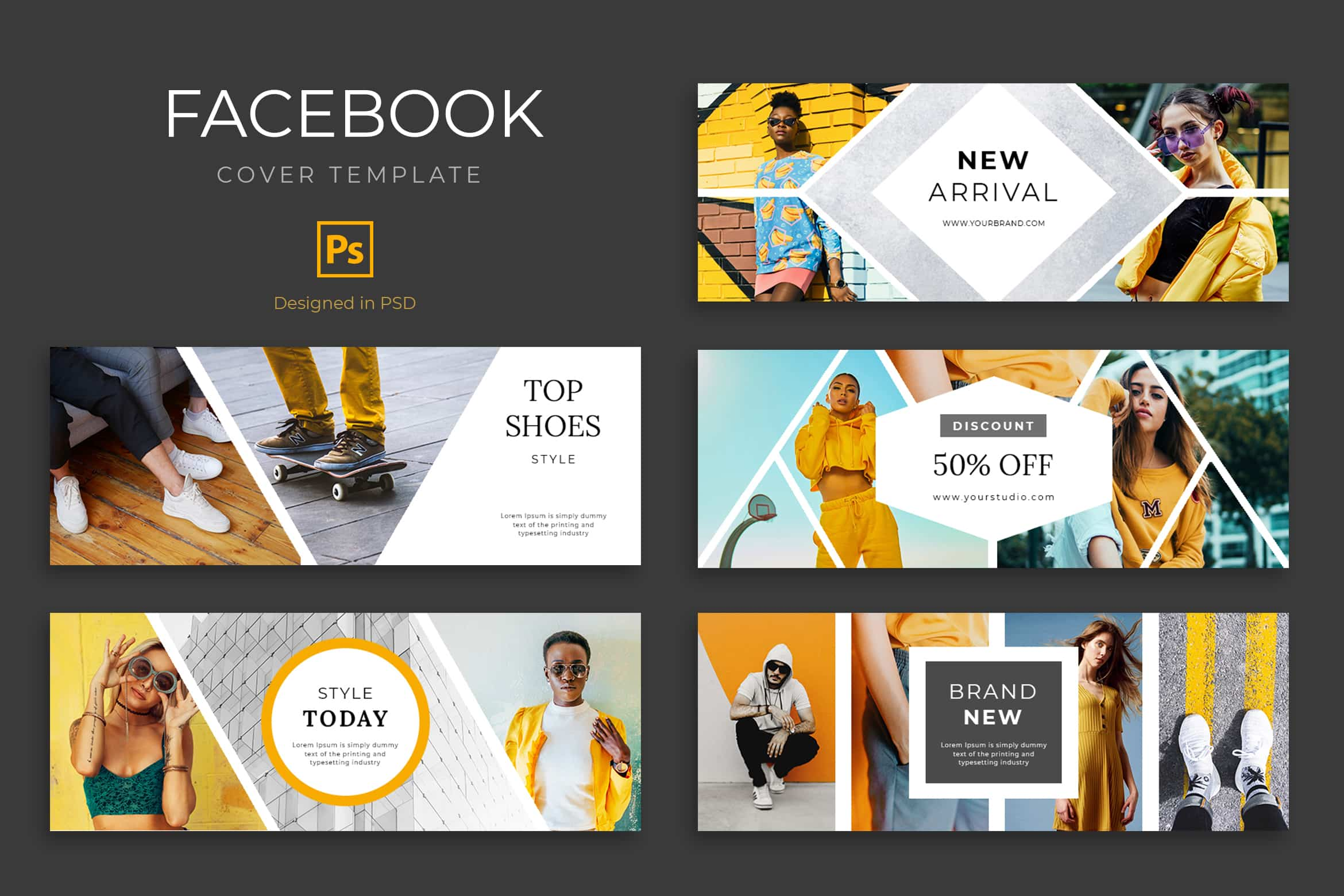 Facebook Cover - Fashion Brand Discount, is highly suitable for promoting your business, product, brand, community, event, or services. Thistemplate is fully editable and customizable in adobe photoshop.