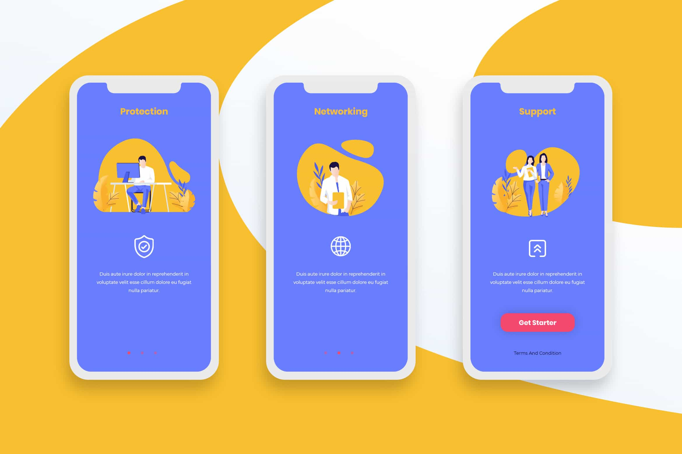 Onboarding Screens - Networking & Protection