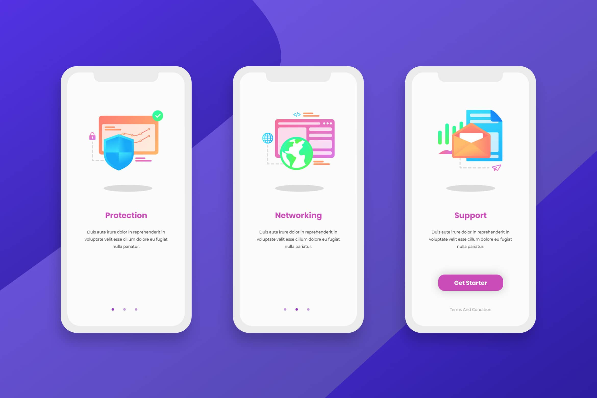 Onboarding Screens – Protection & Networking