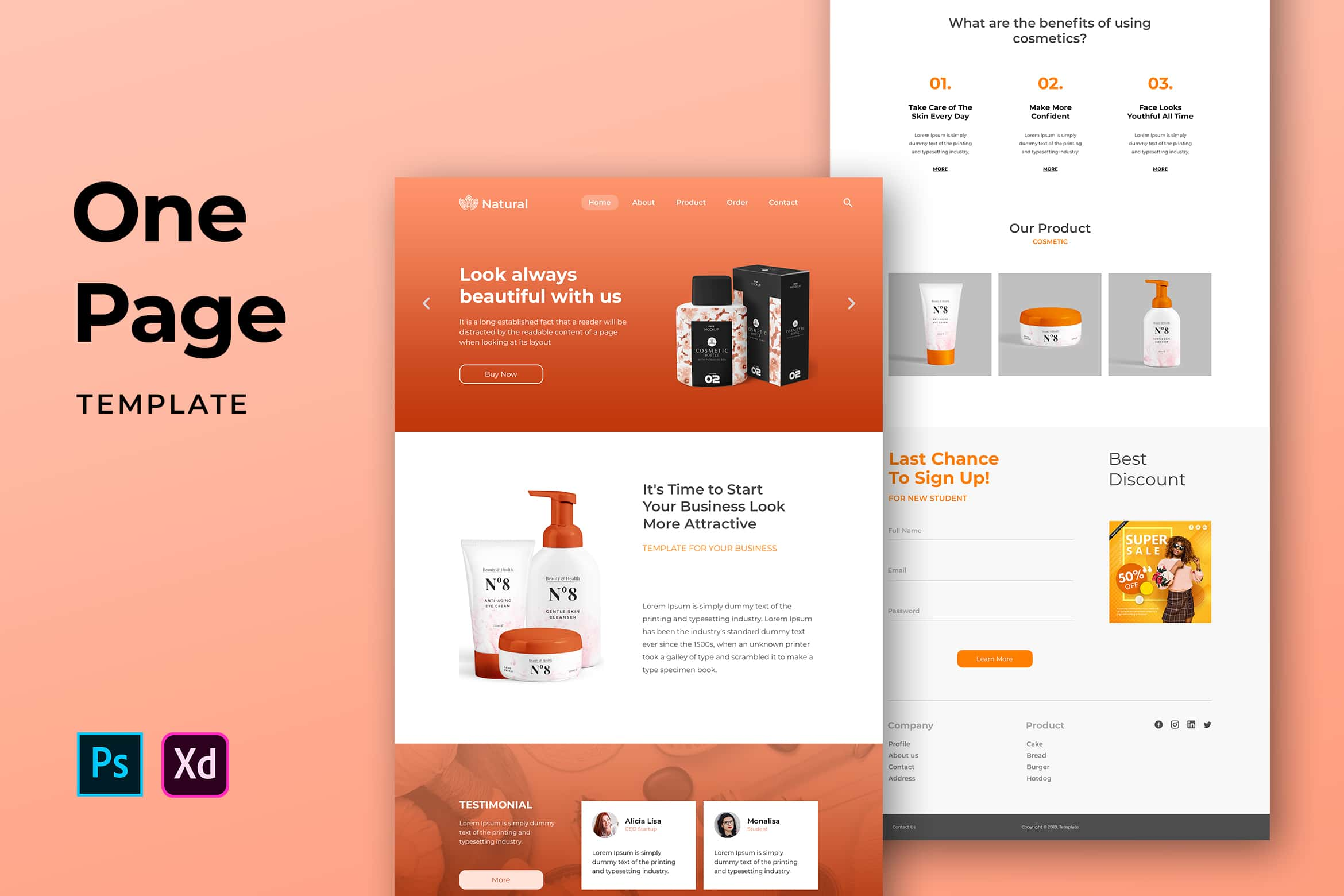 One Pages Template - Natural Cosmetic Website