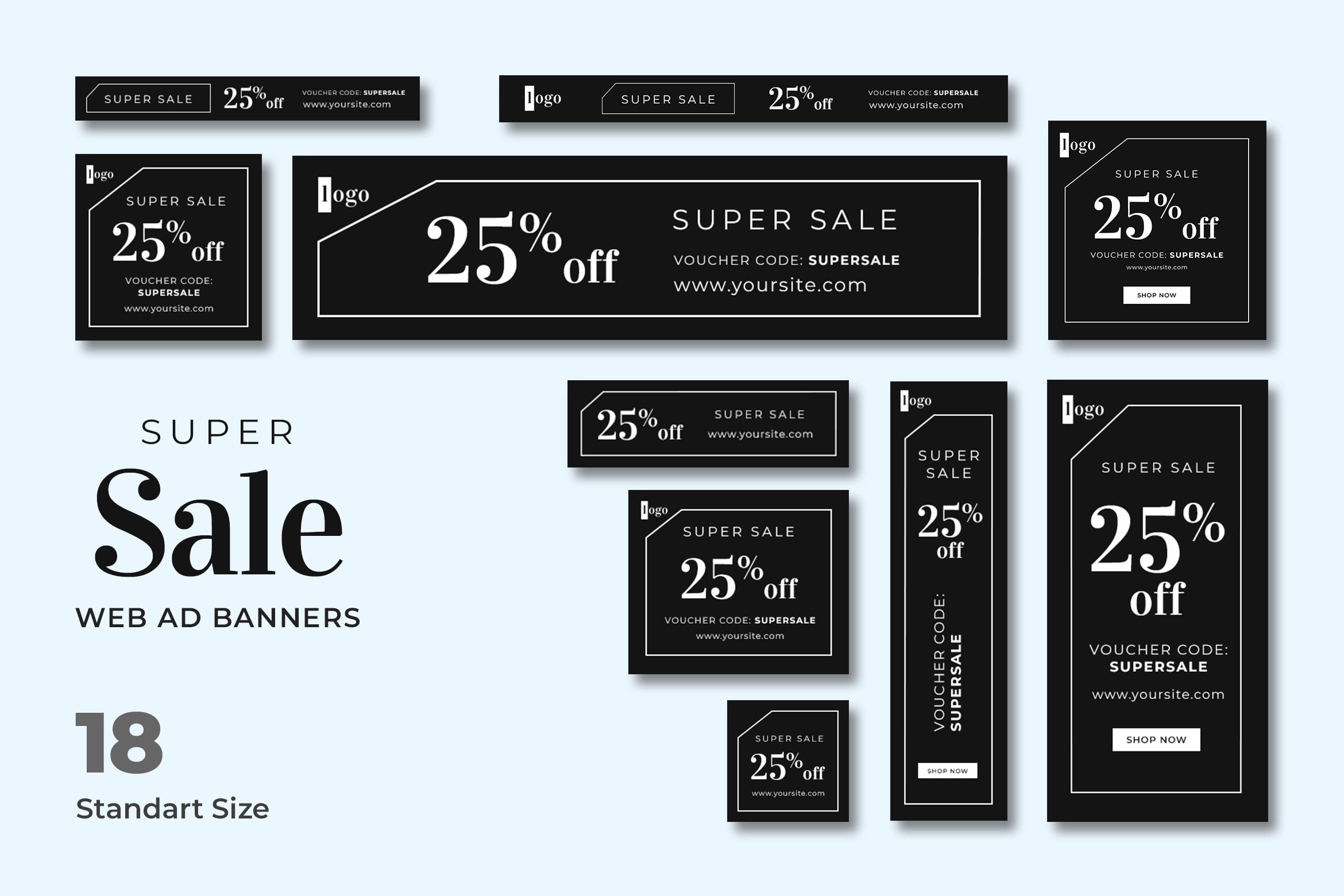 Web Banner - Super Sale Voucher, there are 18 regular good quality PSD banner template files, including Facebook & Instagram ads sizes, ready for your service, product, and campaign. Every PSD file is neatly organized and fully organized. You can use this banner for Google AdWords & social media too. (Including Facebook & Instagram ad sizes). You can edit and adjust this template in Adobe Photoshop.