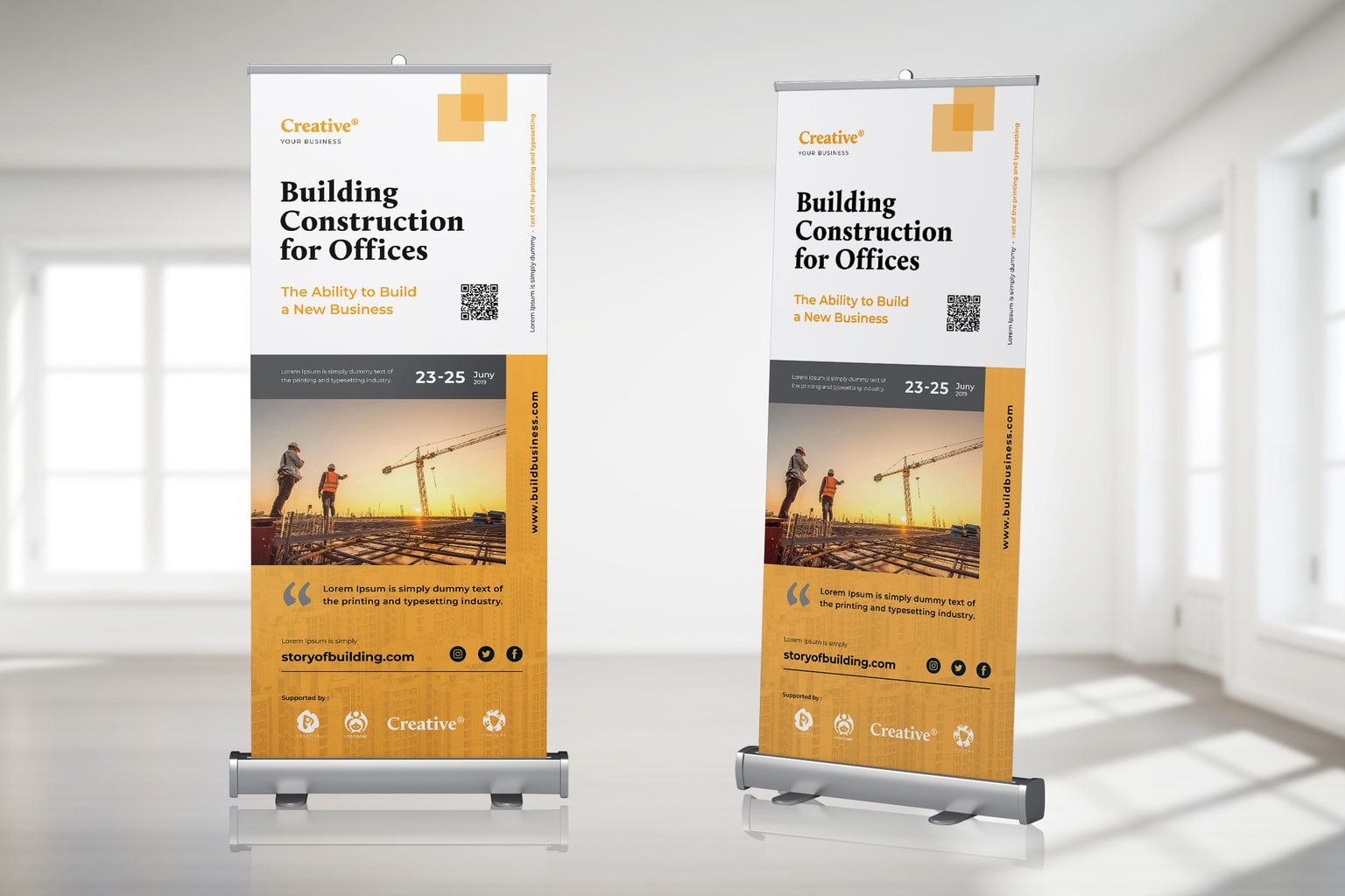 roll up banner building construction promotion