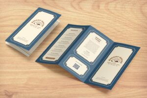 trifold brochure bakery house