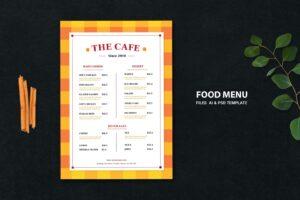 food menu contemporary cafe