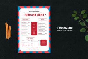 food menu soft food drinks