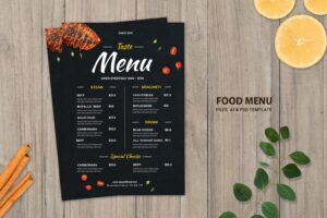 food menu steak spaghetti dishes