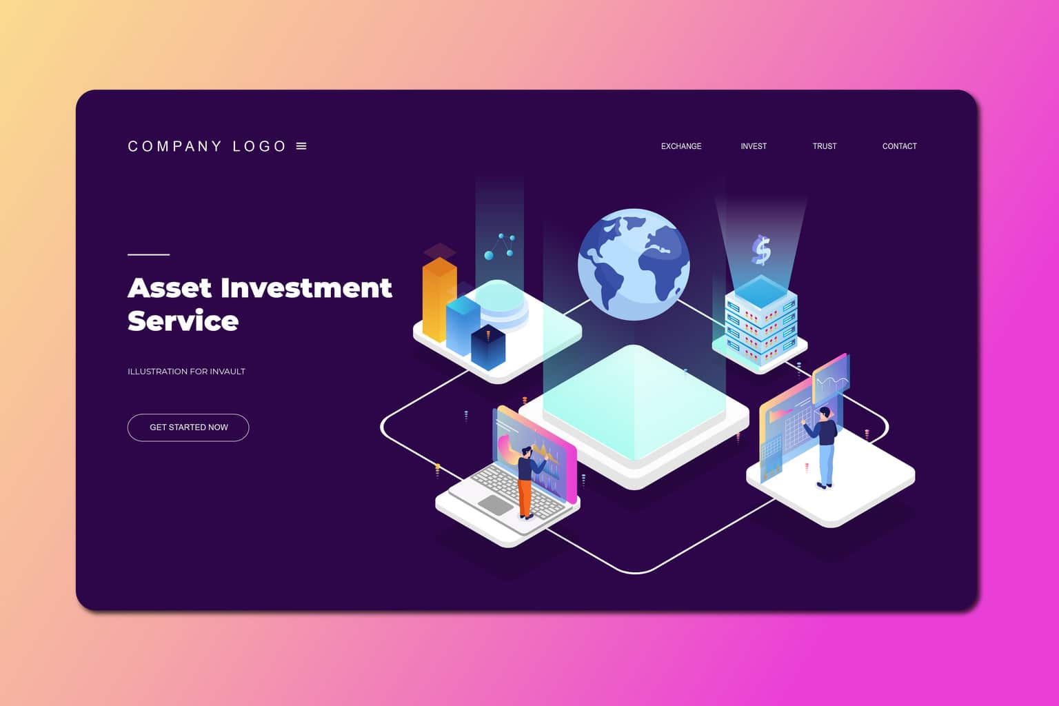 isometric landing pages asset investment service