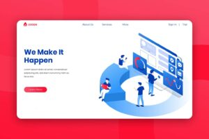 isometric landing pages business quality services