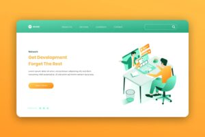 isometric landing pages company development