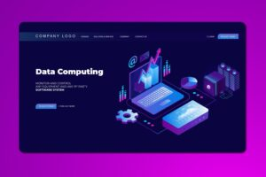 isometric landing pages data computing