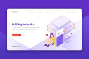 isometric landing pages digital building