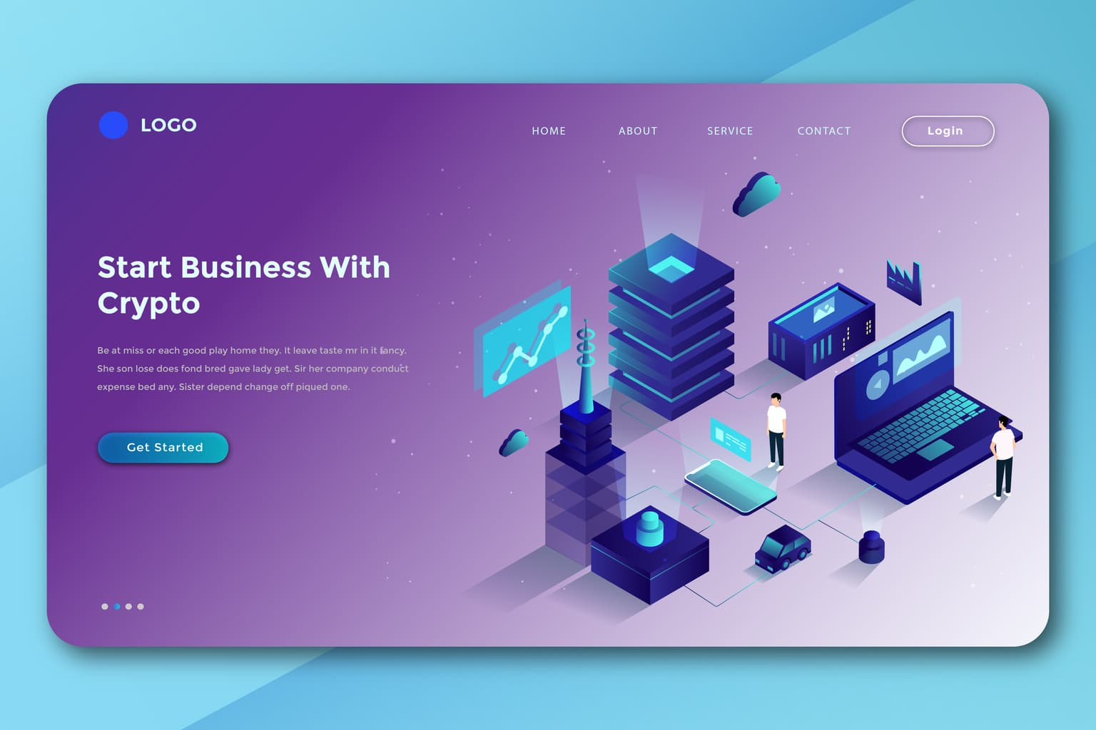 isometric landing pages digital crypto business