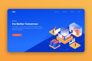 isometric landing pages future business system
