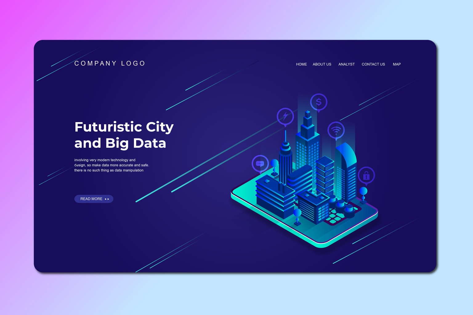 isometric landing pages futuristic city big data