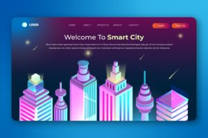 isometric landing pages network smart city 1