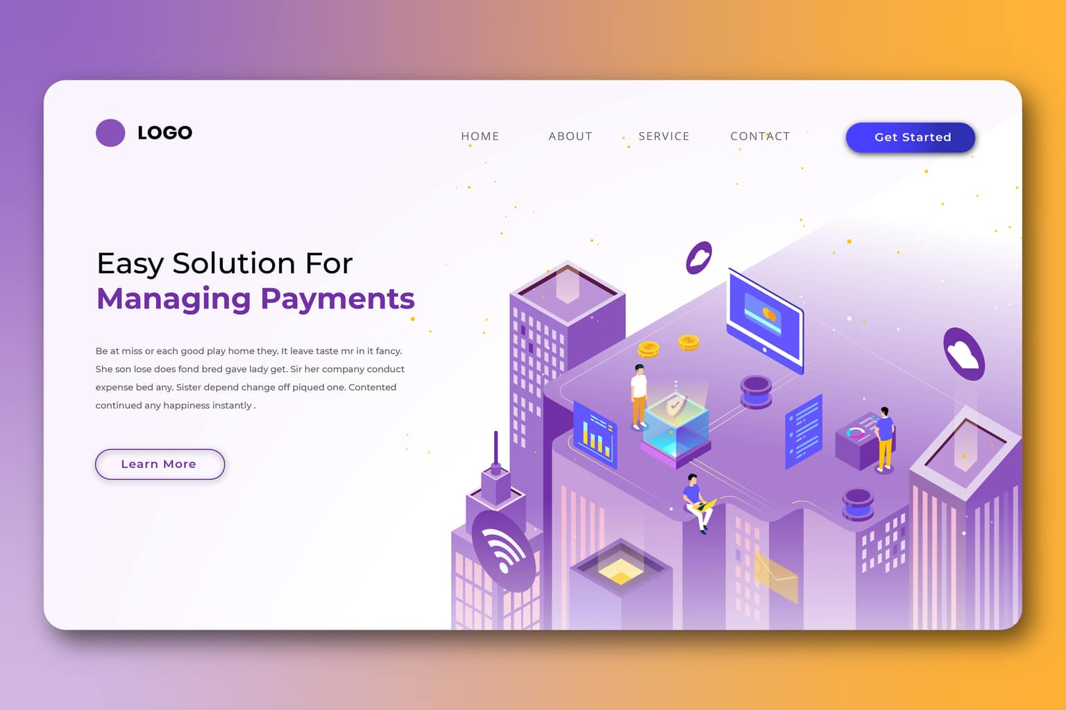 isometric landing pages payment management system
