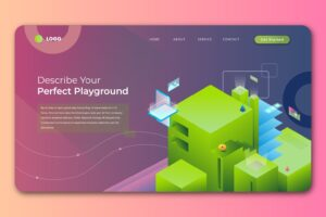 isometric landing pages perfect playground concept