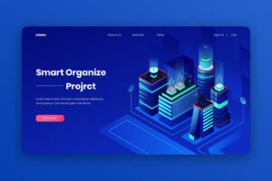 isometric landing pages smart project organization