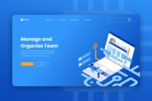 isometric landing pages team management
