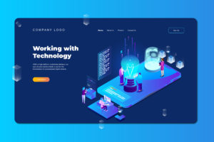 isometric landing pages working with technology