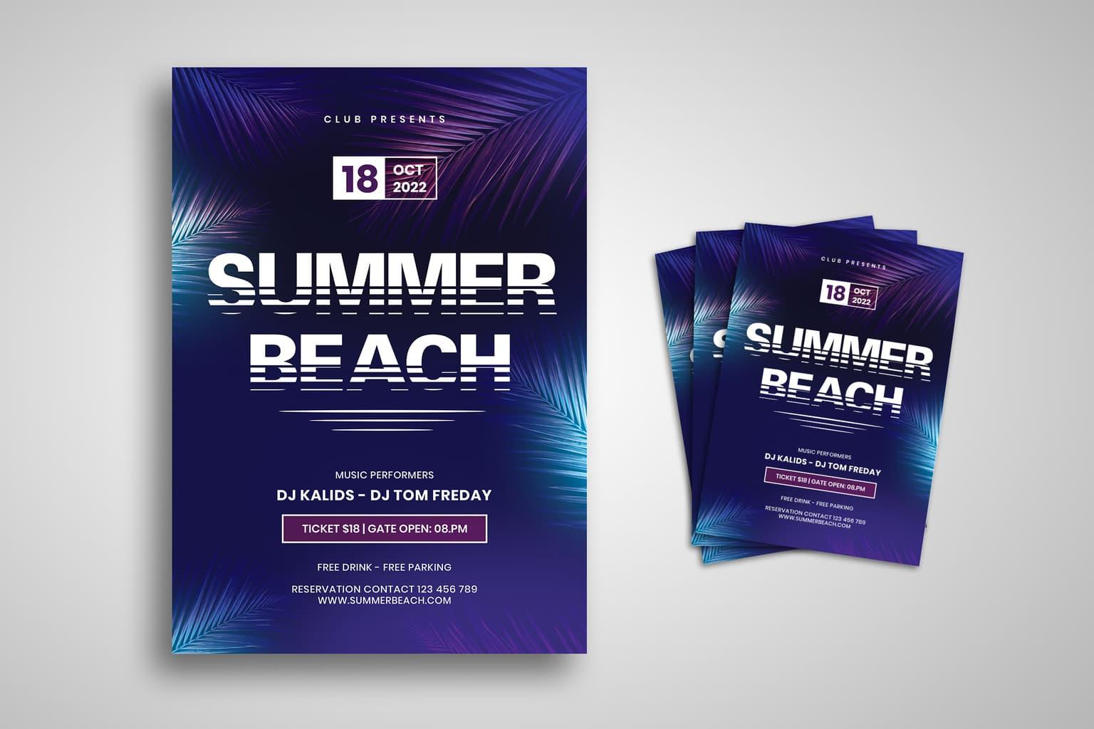 flyer summer beach festival