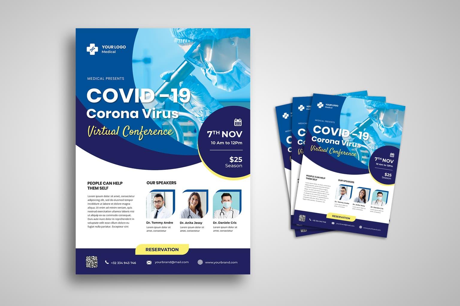 flyer template corona virus virtual confeference 2
