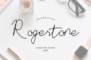 fonts rogertone signature script