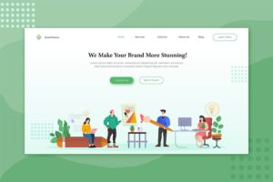 illustration landing pages brand service solution