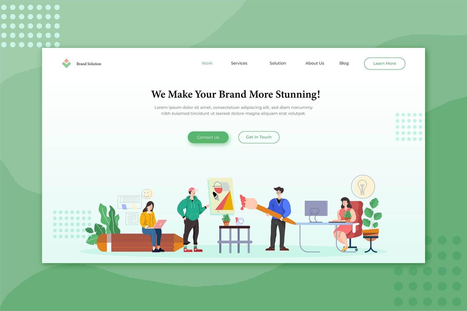 illustration landing pages brand service solution
