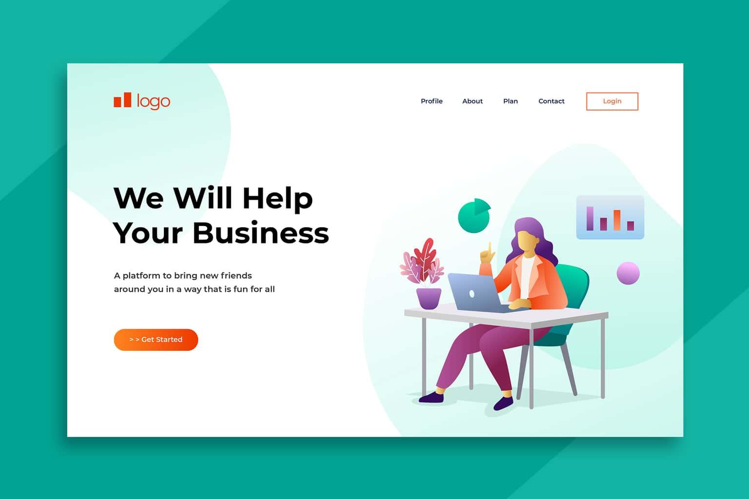 illustration landing pages business help plan
