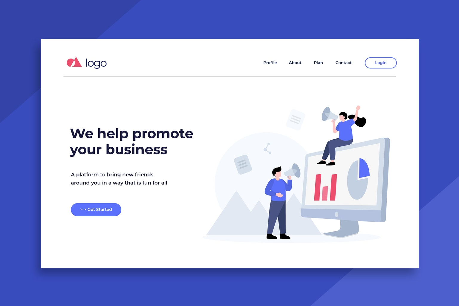 illustration landing pages business promote