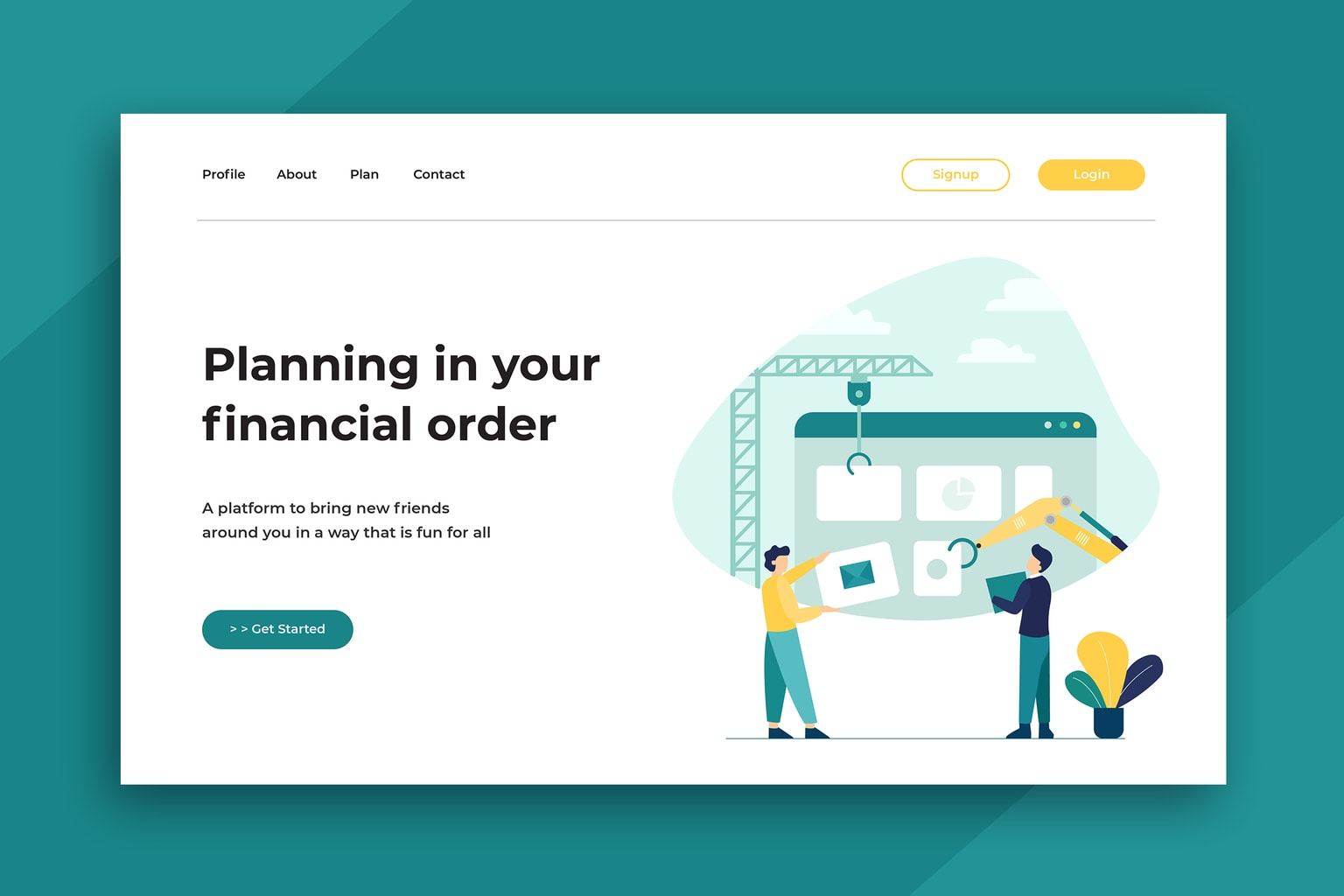 illustration landing pages financial planning
