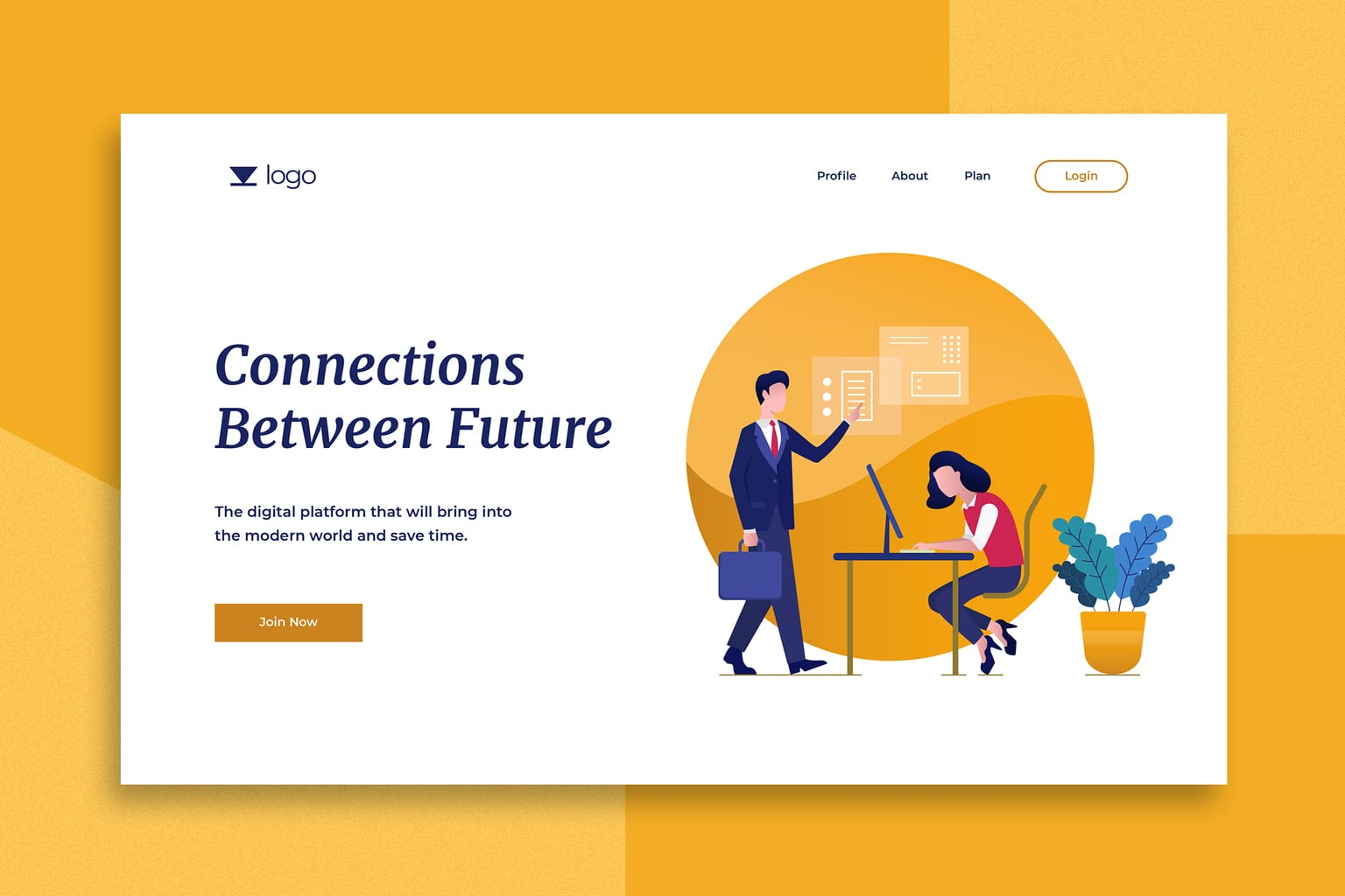illustration landing pages future connections