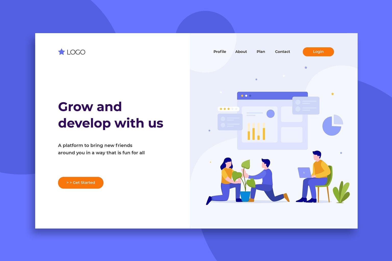 illustration landing pages grow development company