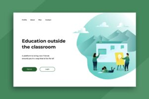 illustration landing pages online classroom education