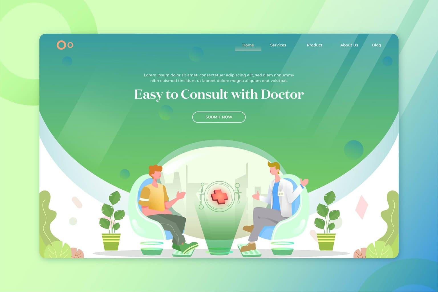 illustration landing pages online doctor consultation