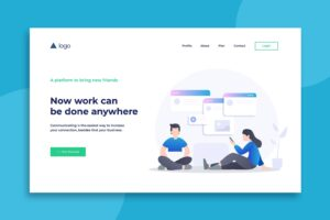 illustration landing pages online work platforms