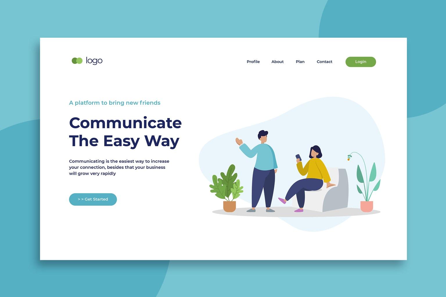 illustration landing pages social communicate platforms
