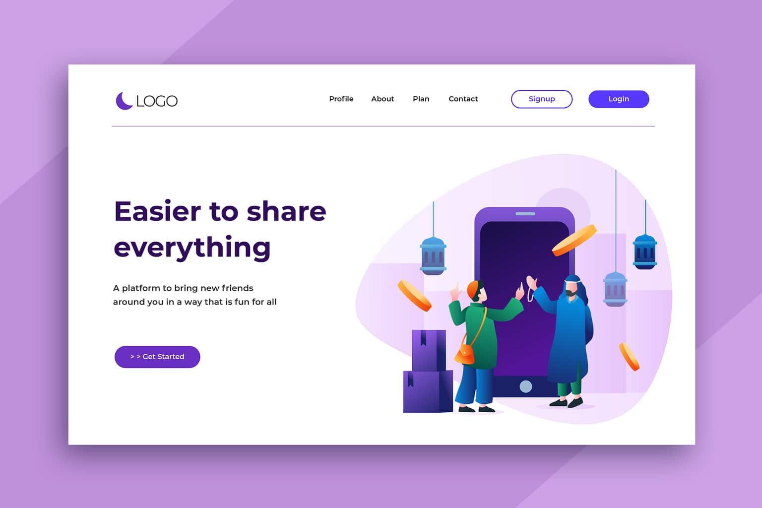 illustration landing pages social sharing
