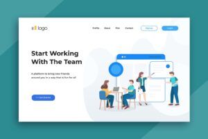 illustration landing pages team working