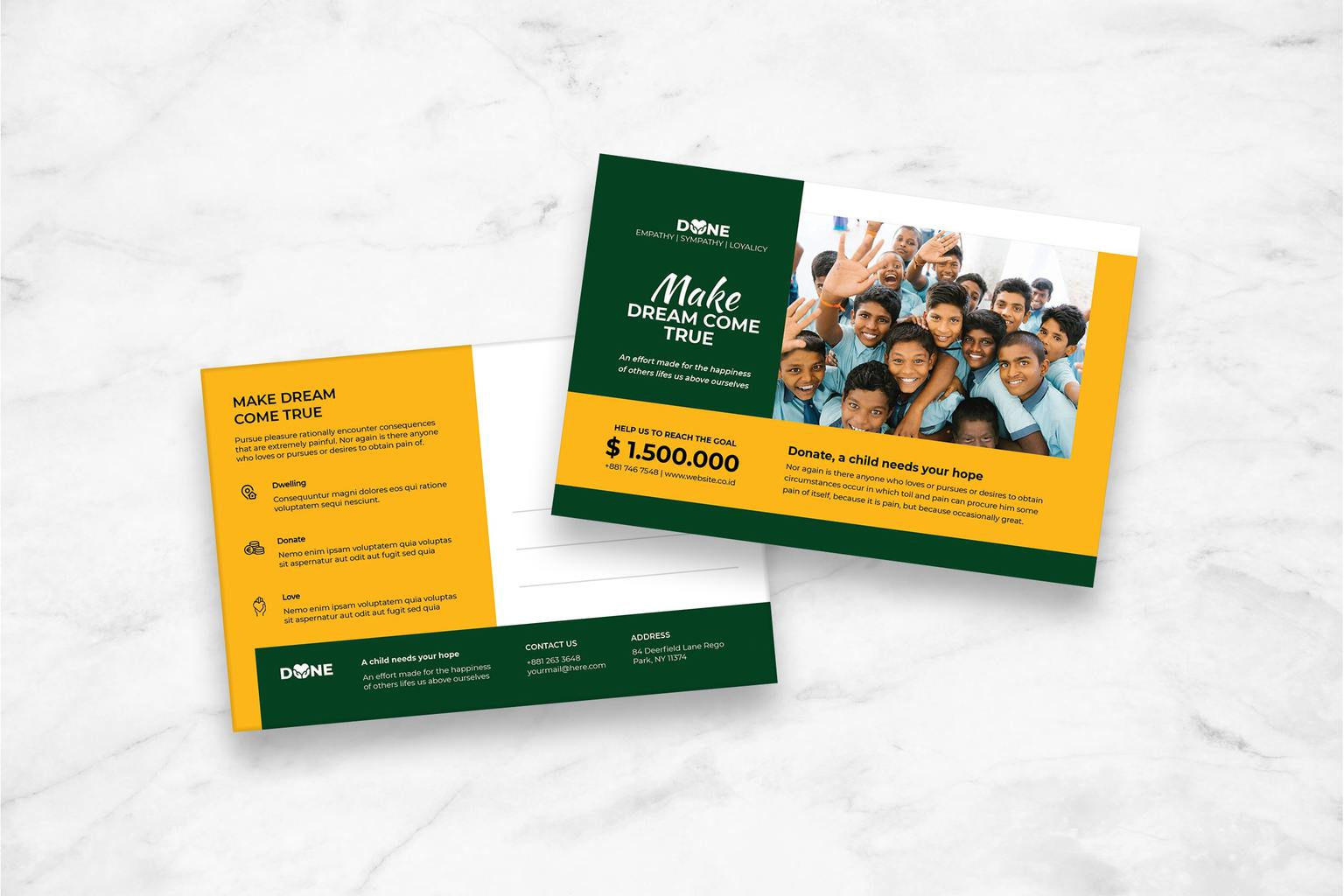 postcard collect social donations