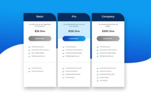 pricing table commercial website service