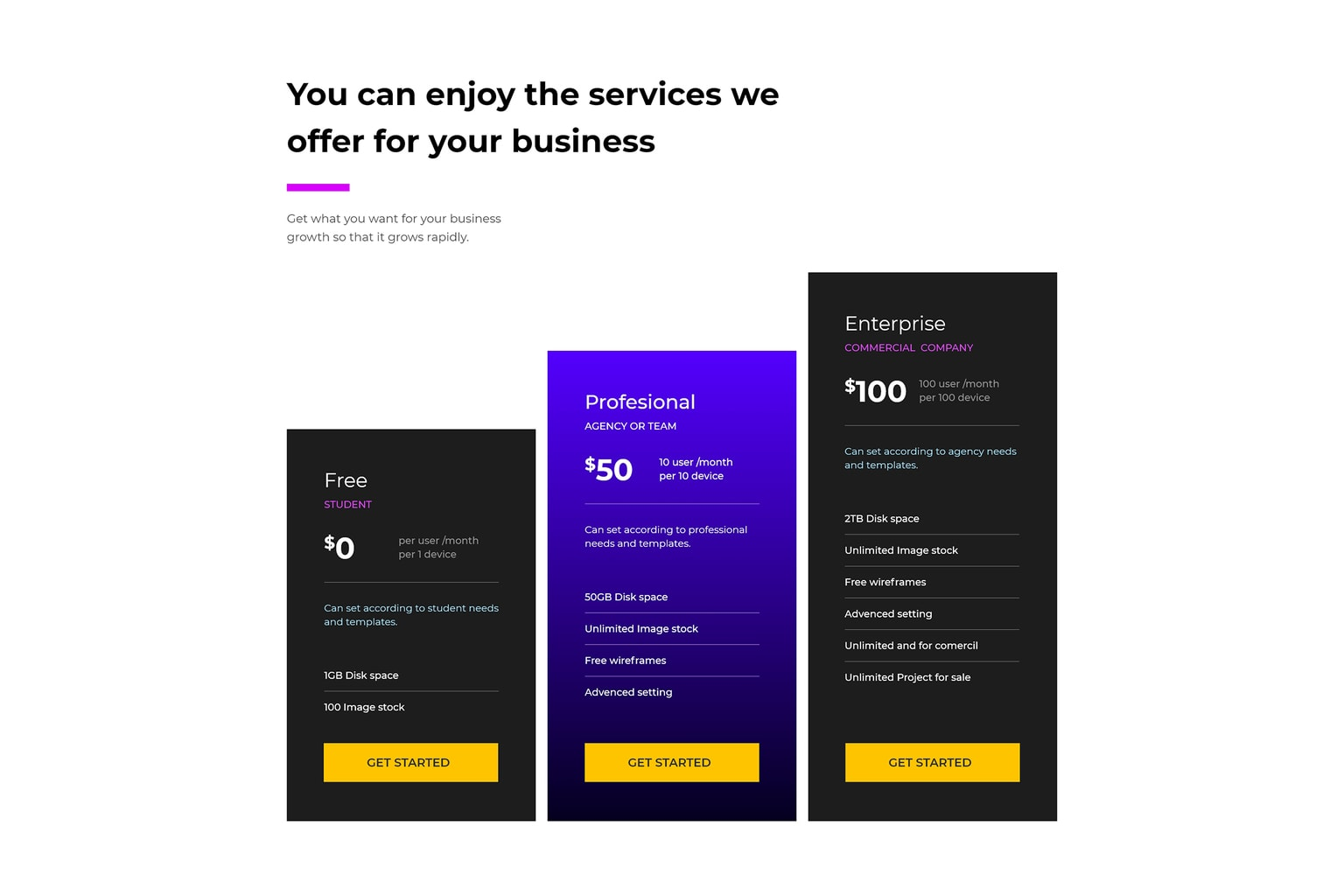 pricing table premium stock images