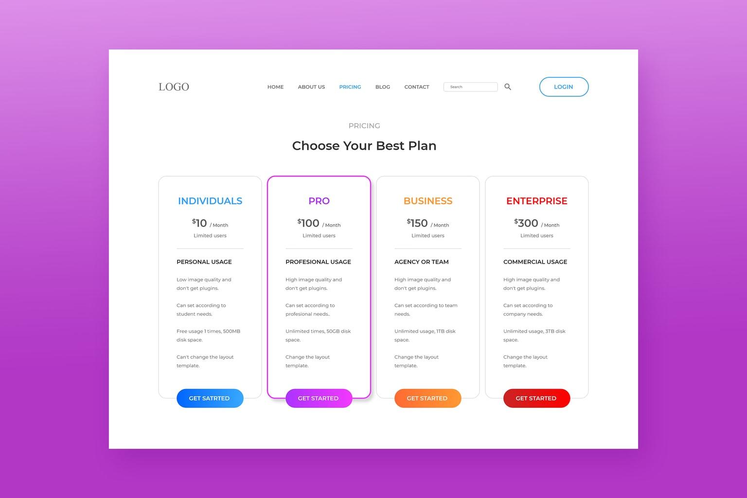 pricing table premium website maker
