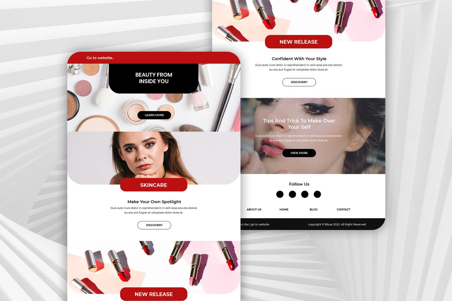 skin care makeup products email newsletter 1